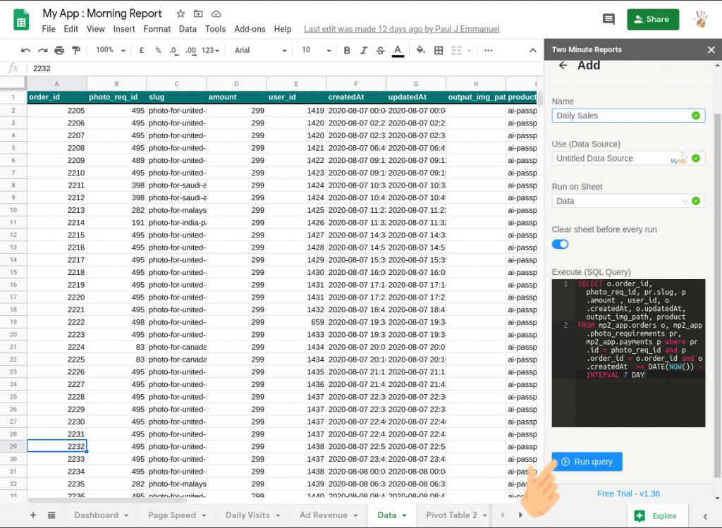 Connect MySQL to Google Sheets