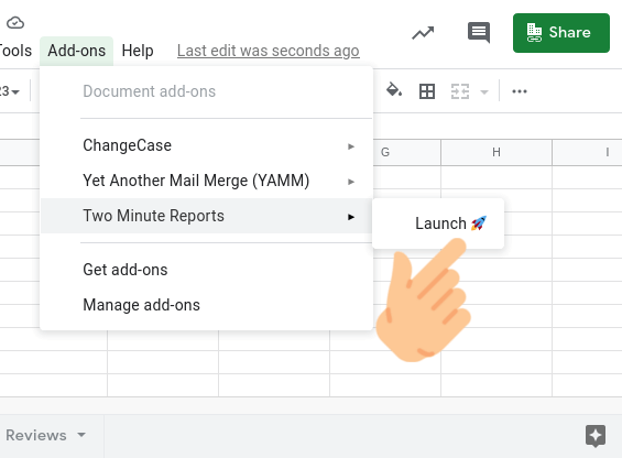 Launch two minute reports in google sheets addons
