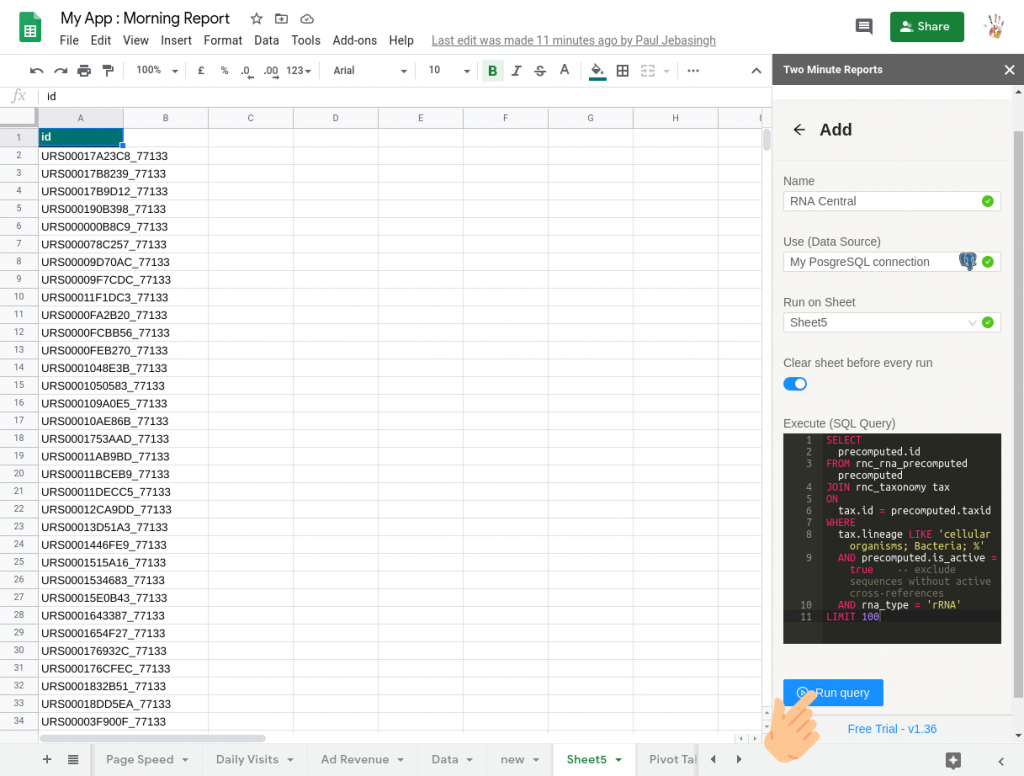 connect postgresql to google sheets