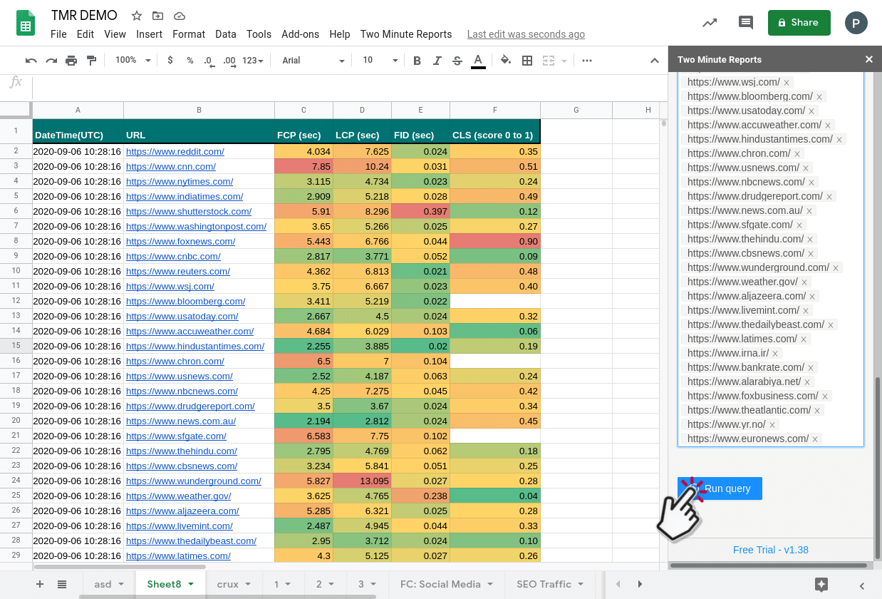 Get Google PageSpeed insights core web vitals in Google SHeets