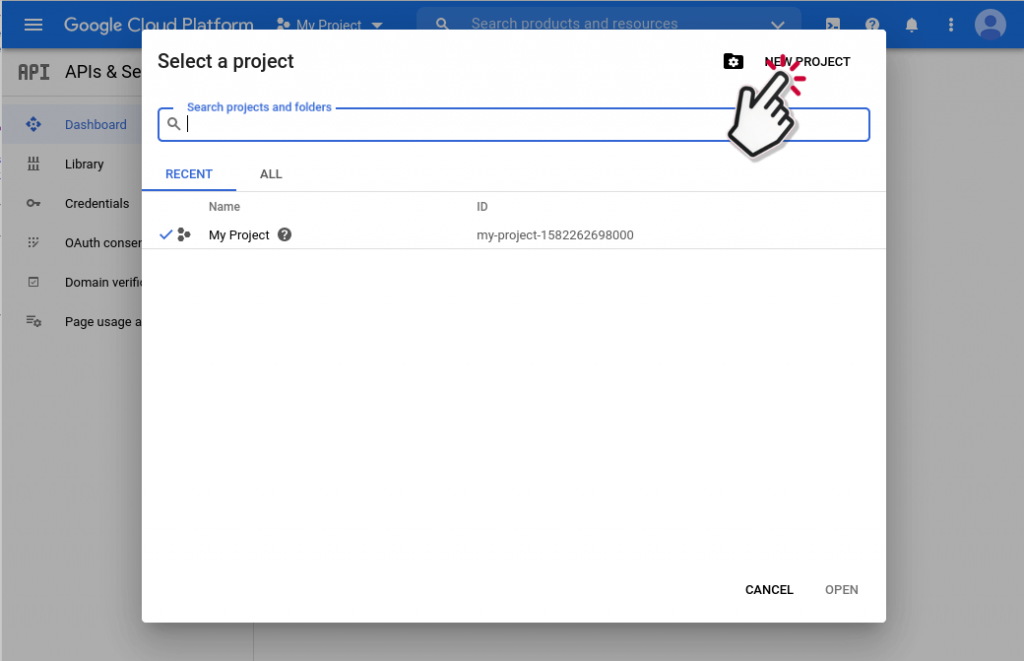 create new project in google cloud console