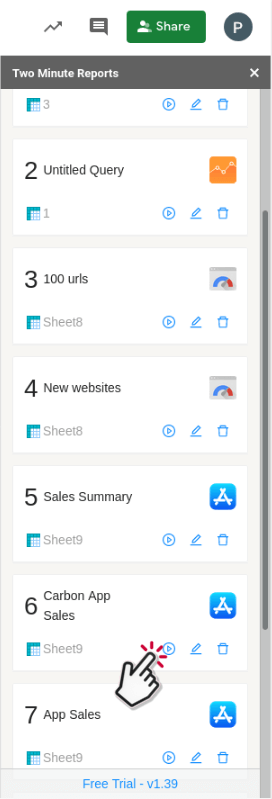 Run saved query in Google Sheets