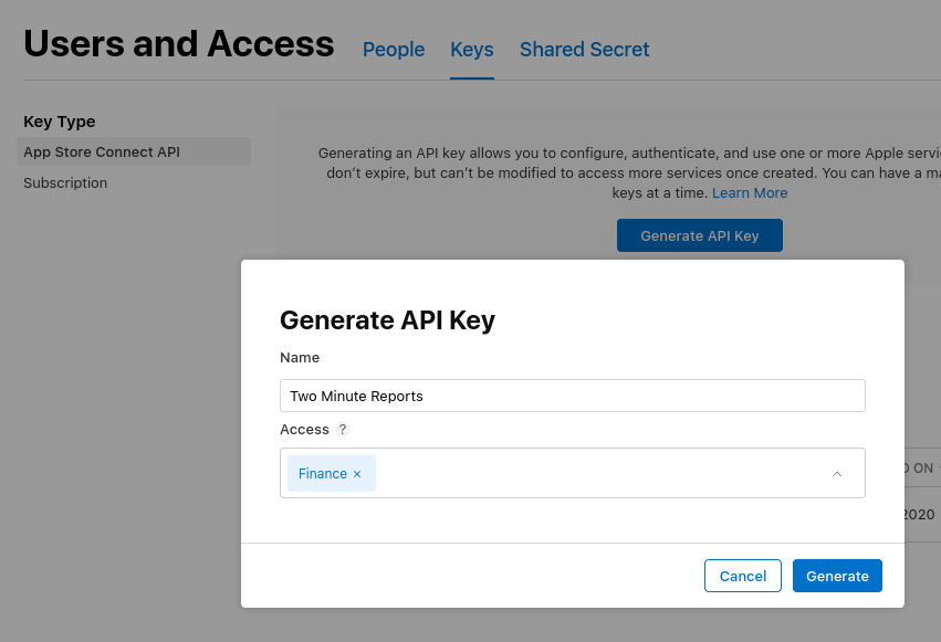Get Api keys from apple app store connect